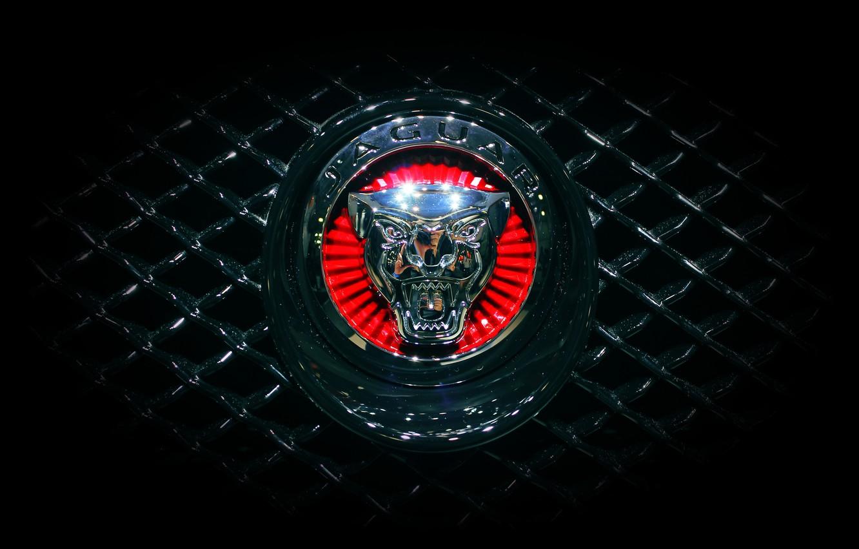Photo wallpaper Jaguar, Machine, Grille, Jaguar, Emblem, Logo, Radiator
