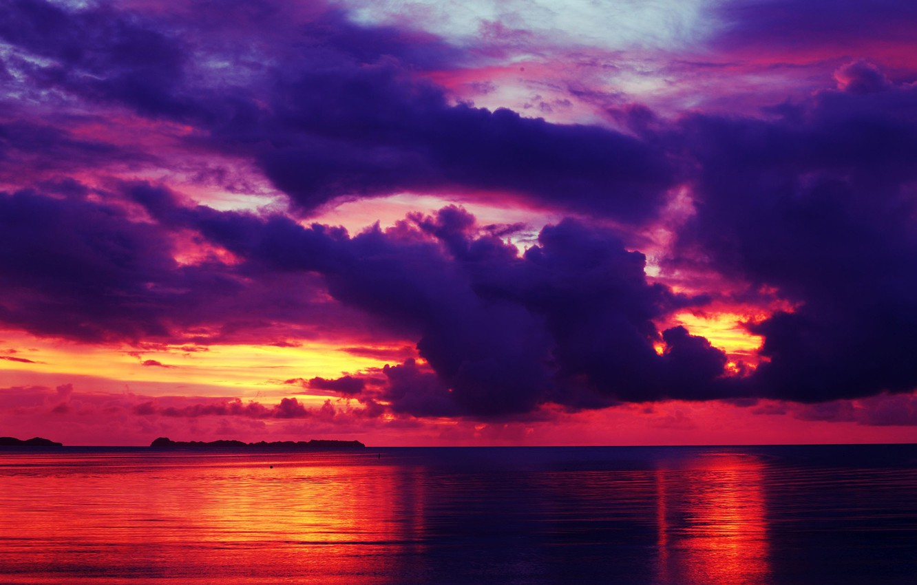 Photo wallpaper sea, the sky, clouds, sunset, clouds, reflection, horizon, glow