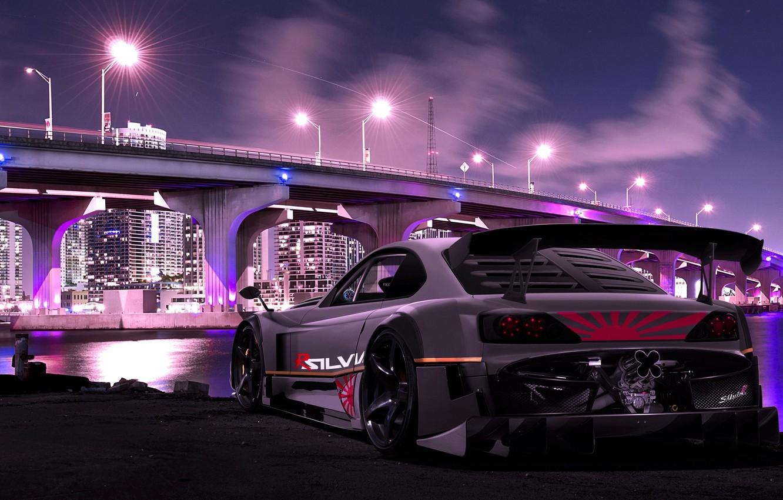 Photo wallpaper Bridge, The city, Tuning, Nissan, Nissan, Tuning, Sylvia, Silvia S15, Silvia R