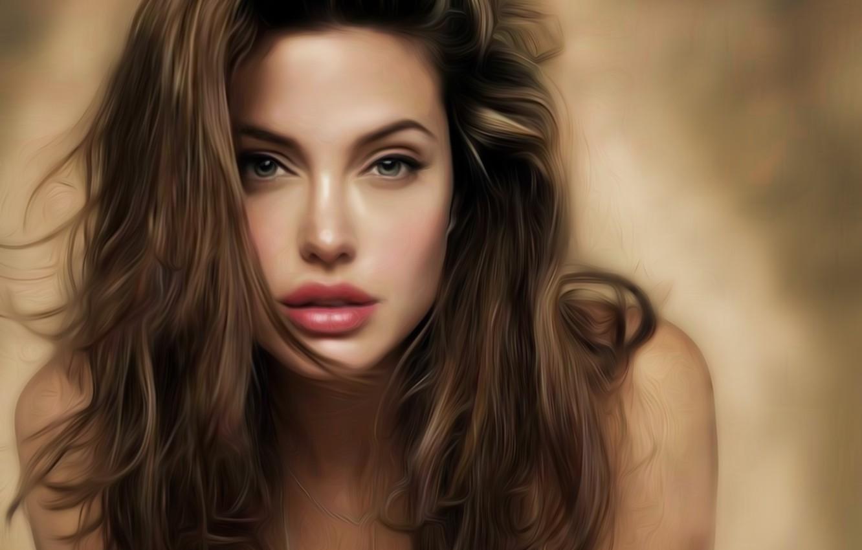 Photo wallpaper girl, face, hair, actress, Angelina Jolie, Angelina Jolie, art