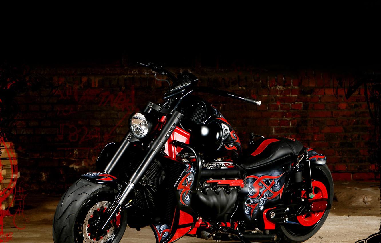 Photo wallpaper red, motorcycle, black, boss hoss, airbrushing.