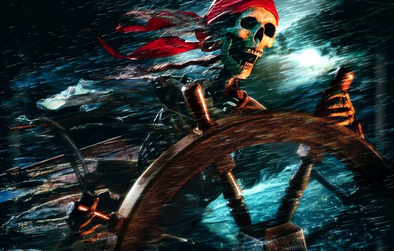Photo wallpaper skeleton, pirates of the Caribbean, the wheel