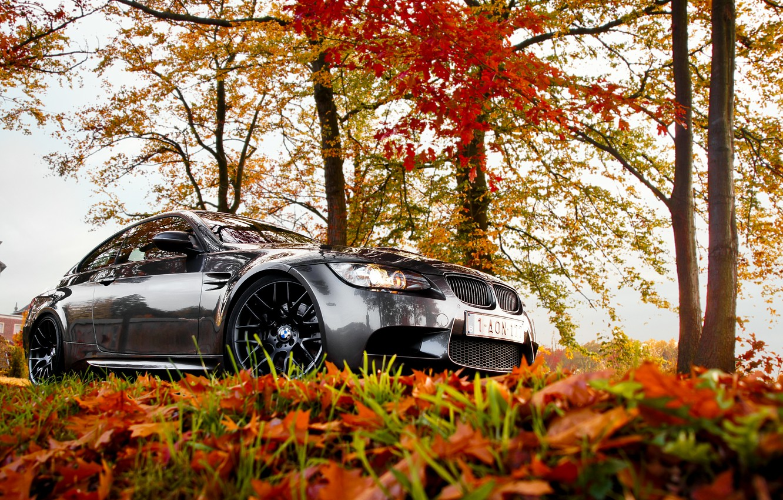 Photo wallpaper BMW, autumn, leaves, e92, fall