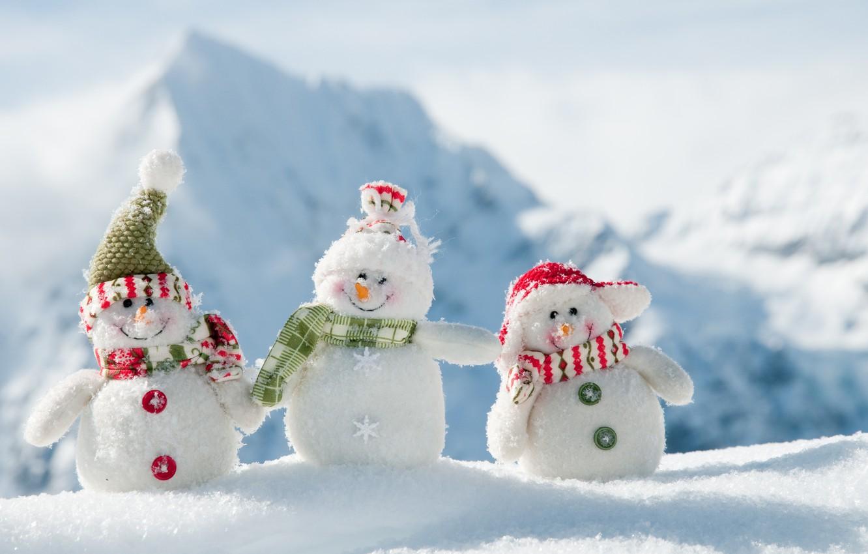 Photo wallpaper winter, new year, snowmen, fun, White snowmans