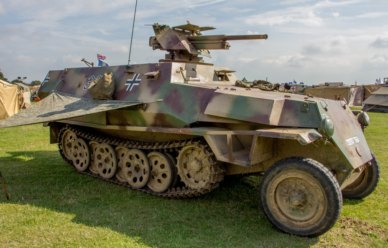 Photo wallpaper installation, The second world war, self-propelled, APC, German