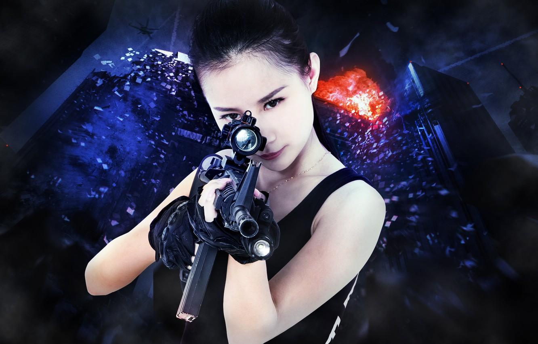 Photo wallpaper girl, weapons, the game, Asian, 91WAN