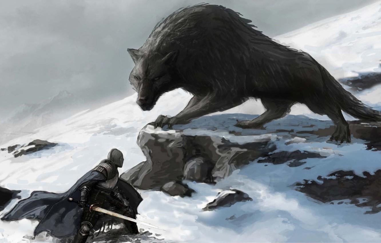 Photo wallpaper snow, wolf, sword, fantasy, knight, the fight, Dark souls
