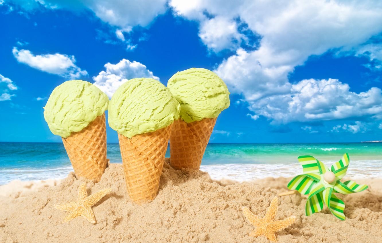 Photo wallpaper sand, beach, summer, ice cream, summer, beach, horn, sea, sand, dessert, ice cream