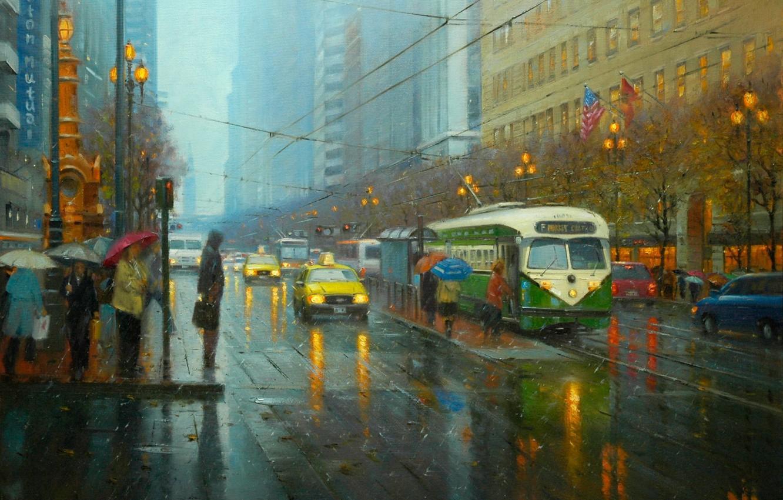 Photo wallpaper road, the city, lights, people, rain, street, wire, picture, art, traffic light, lights, umbrellas, tram, …