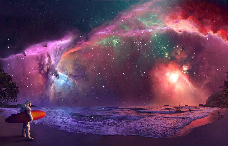 Photo wallpaper The sky, Sea, The universe, Shore, Astronaut, Fiction