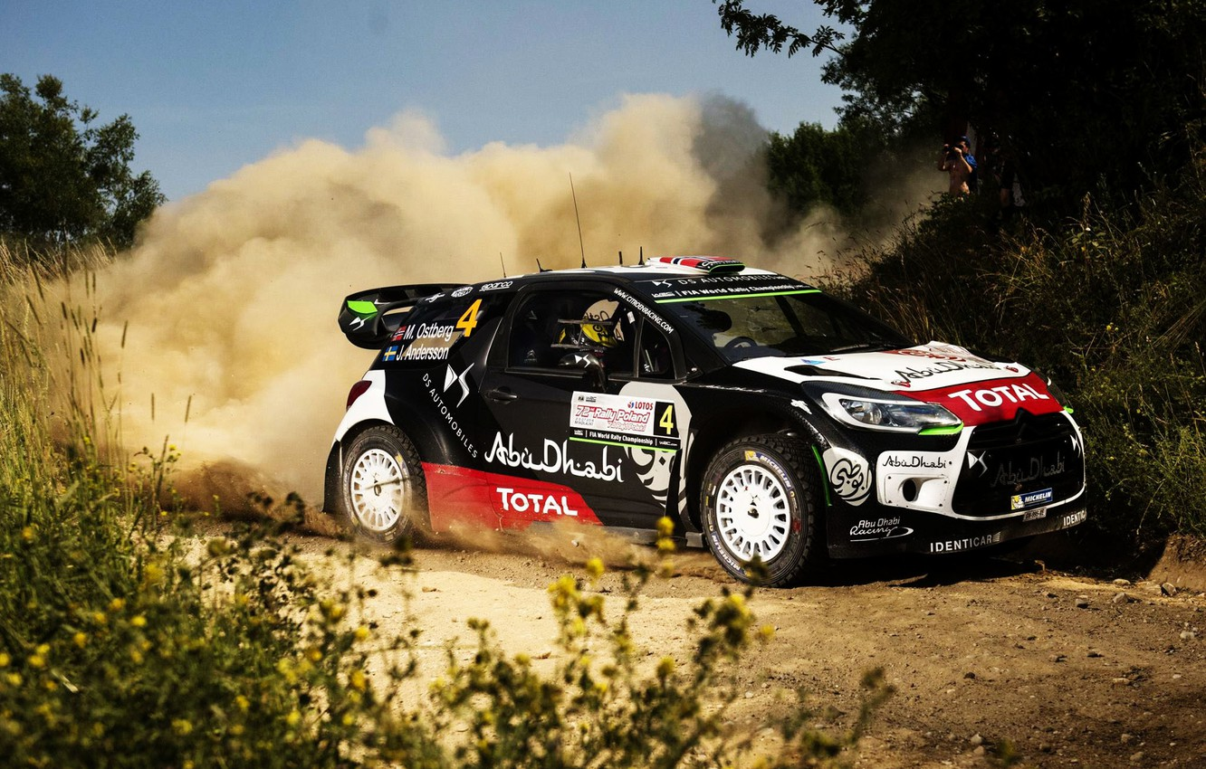 Photo wallpaper Grass, Dust, Citroen, DS3, WRC, Rally, Rally, Mads Ostberg