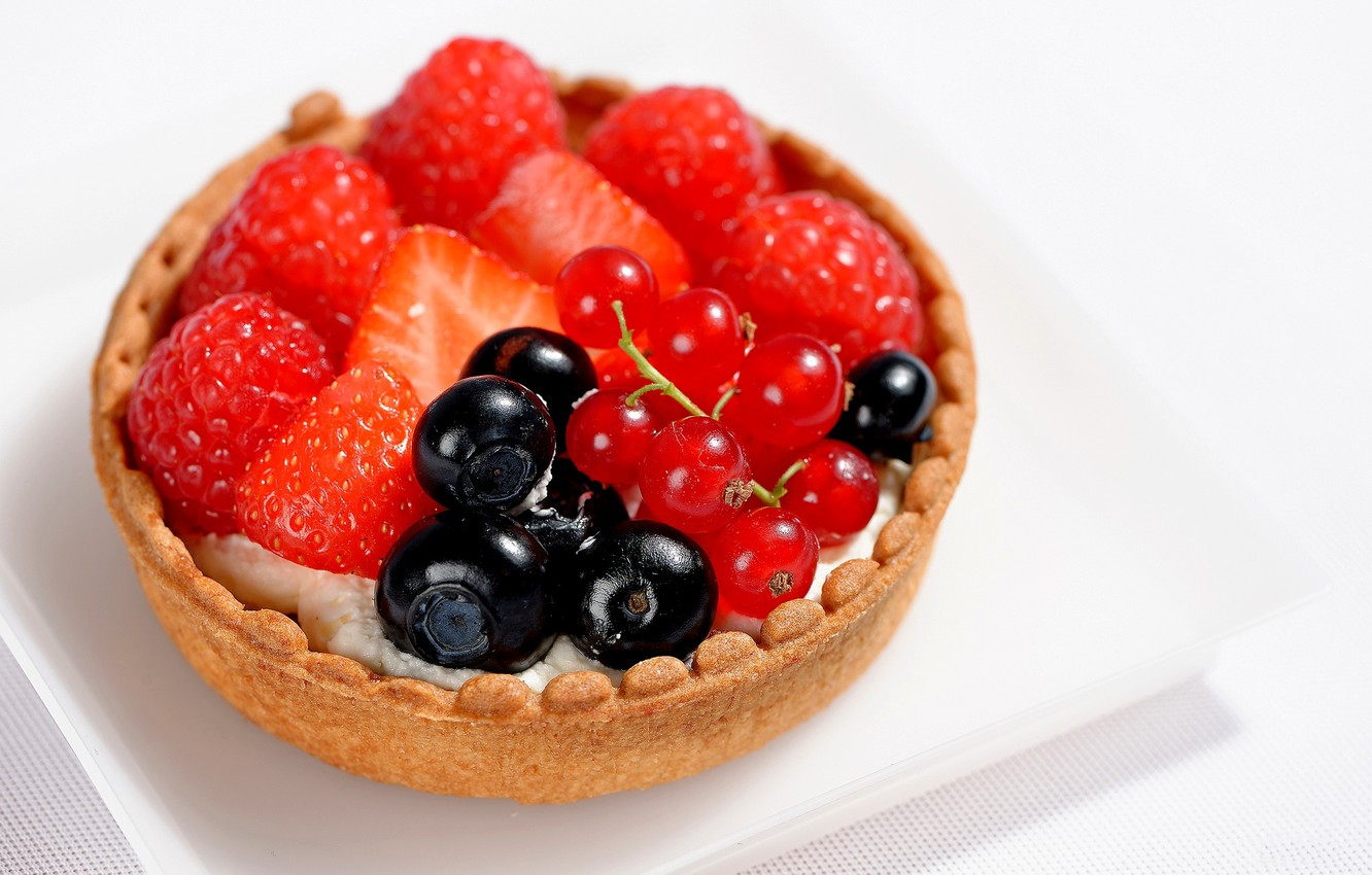 Photo wallpaper raspberry, food, blueberries, strawberry, cream, dessert, sweet, sweet, cream, dessert, berries, tartlets, blueberries, red currant, …