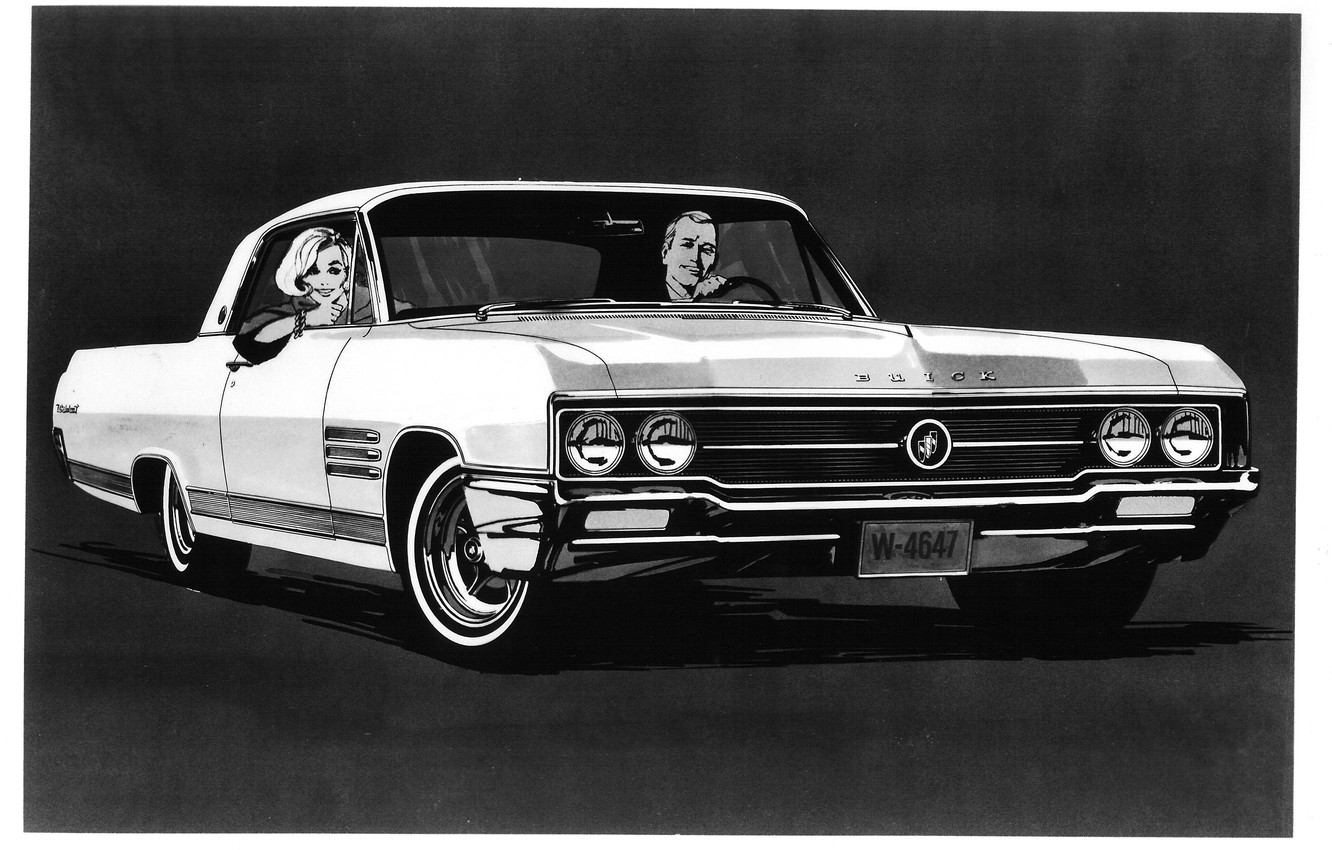 Photo wallpaper people, black and white, muscle car, people, wildcat, buick
