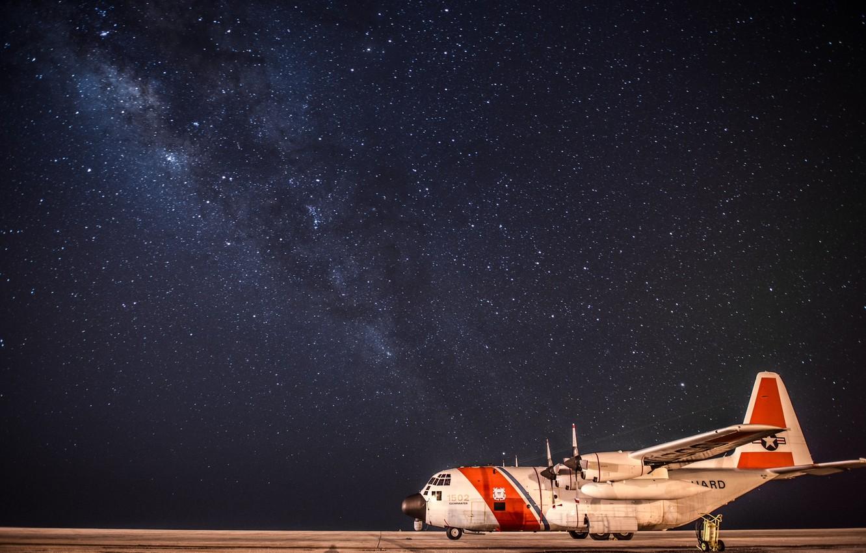 Wallpaper The Sky Night Stars The Airfield Lockheed Military