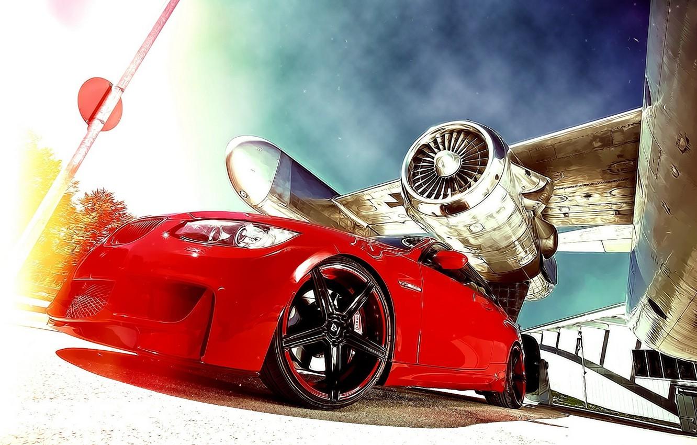 Photo wallpaper BMW, Red, Plane