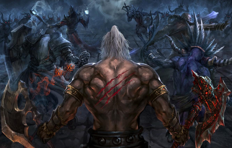 Photo wallpaper Blizzard, Art, Diablo 3, Background, Blizzard Entertainment, Minions, Fan Art, Demon Hunter, Witch Doctor, Battle, …