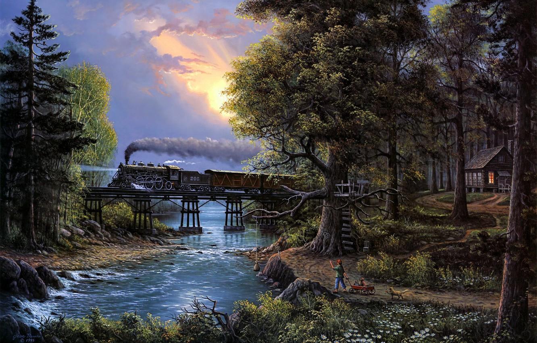 Photo wallpaper river, trees, bridge, sunset, cat, boy, train, painting, Jesse Barnes, Cherished Companions