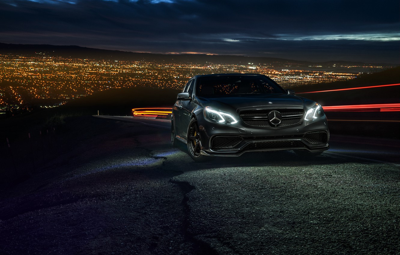 Photo wallpaper Mercedes-Benz, City, California, Motorsport, Sonic, E63, Ligth, Nigth, AMG S
