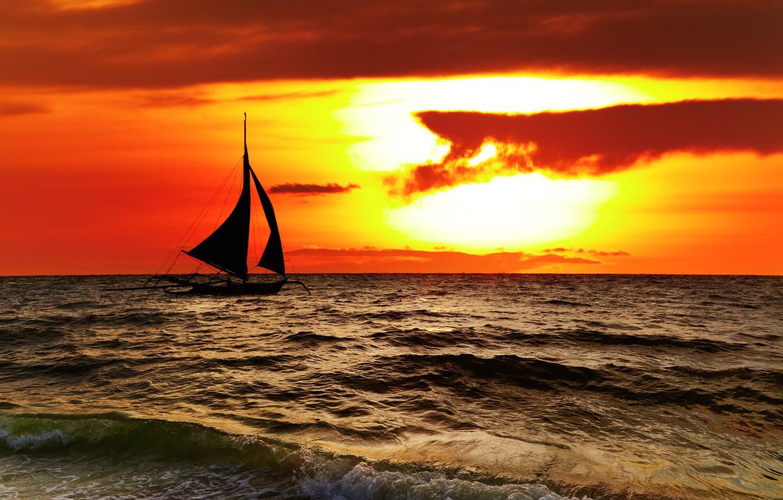 Photo wallpaper sea, the sky, clouds, landscape, nature, sailboat, beautiful, sky, sea, landscape, nature, beautiful, clouds, Philippines, …
