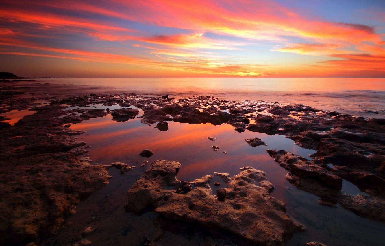 Photo wallpaper sea, beach, stones, the evening, dawn