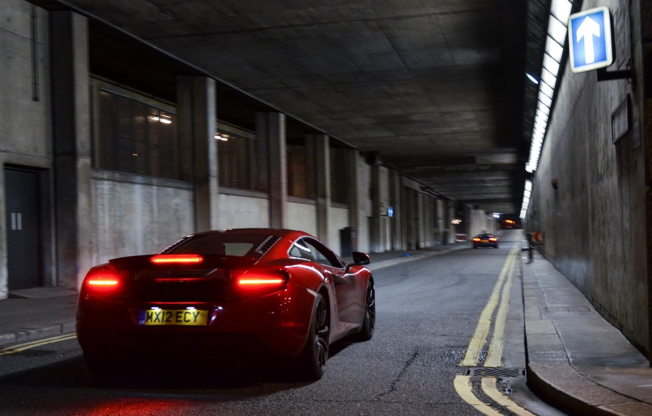 Photo wallpaper road, machine, auto, lights, McLaren, red, MP4-12C, Can-Am