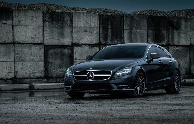Photo wallpaper car, Mercedes-Benz, black, CLS550