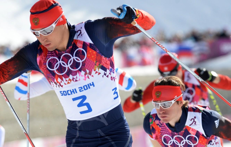 Photo wallpaper Skiers, Russia, Olympics, Champions, Sochi 2014, Alexander Legkov, ski marathon, Maxim Vylegzhanin