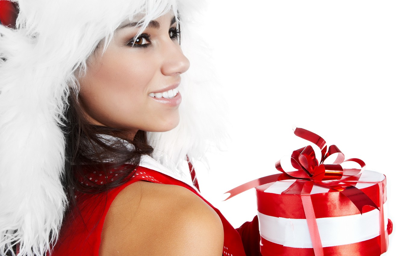 Photo wallpaper white, girl, red, smile, holiday, gift, color, new year, fur, new year