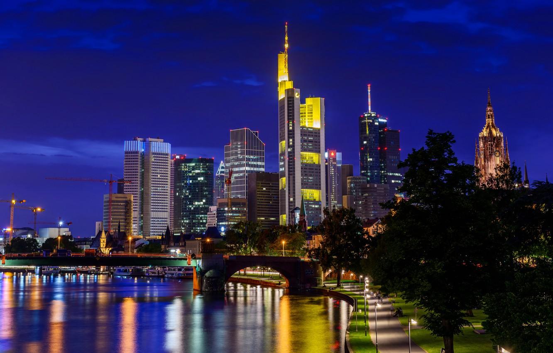 Wallpaper night the city Germany skyscrapers Frankfurt am Main