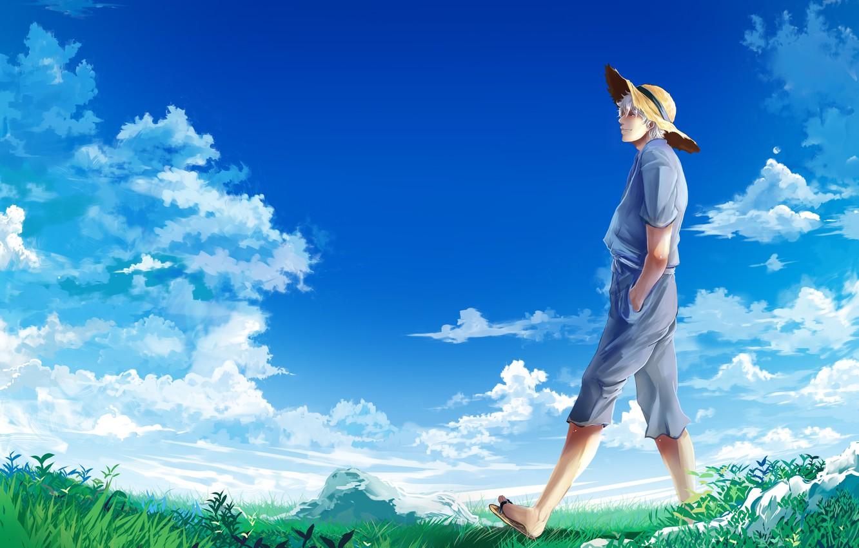 Photo wallpaper the sky, clouds, hat, meadow, guy, Gintama, Gintama, Sakata Gintoki