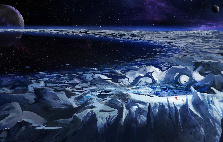Photo wallpaper ice, space, stars, nebula, planet, glacier, ring, travelers