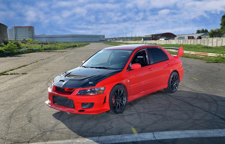 Photo wallpaper red, the hood, red, mitsubishi, Lancer, evolution, Mitsubishi, lancer evolution, carbon fiber