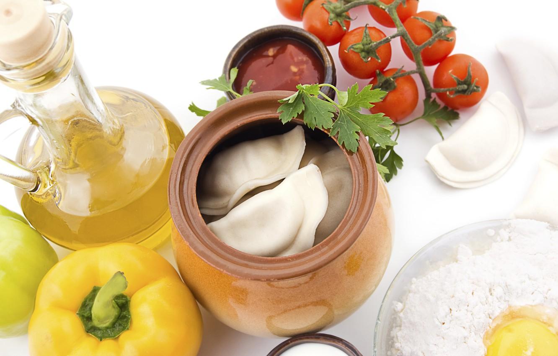 Photo wallpaper greens, tomatoes, bell pepper, pot, dumplings, garnish, olive oil, tomato, bell pepper, meat dumplings, Pot, …