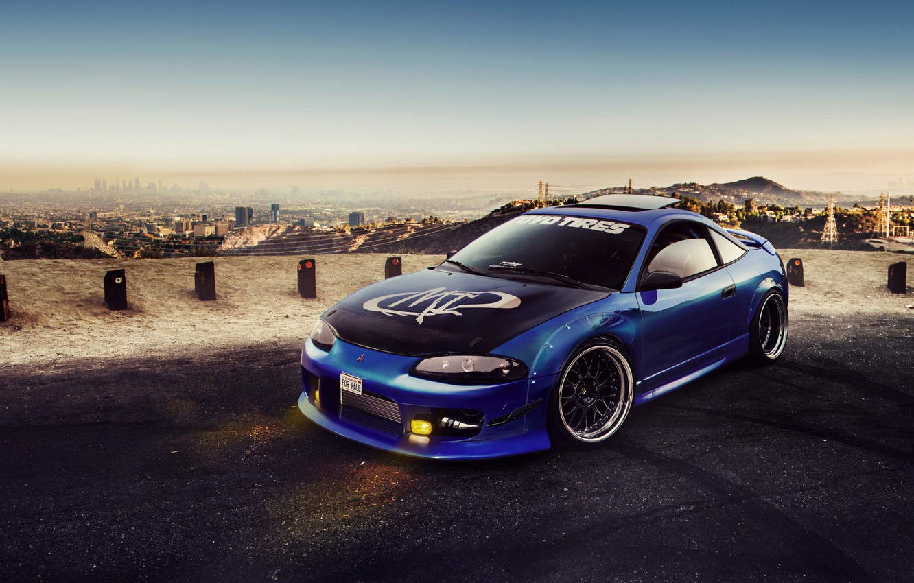 Photo wallpaper Mitsubishi, Car, Blue, Eclipse, Tuning, Virtual