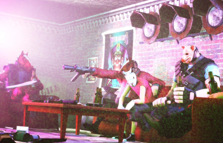 Photo wallpaper TF2, Team Fortress 2, Hotline Miami