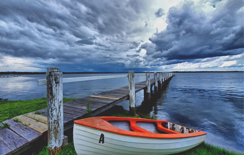 Photo wallpaper clouds, bridge, lake, shore, boat, The sky, storm