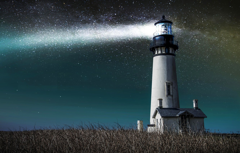 Photo wallpaper the sky, grass, stars, light, lighthouse, house