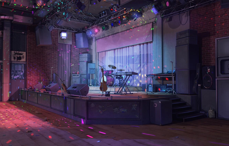 Photo wallpaper scene, guitar, club, column, drum, art, night club