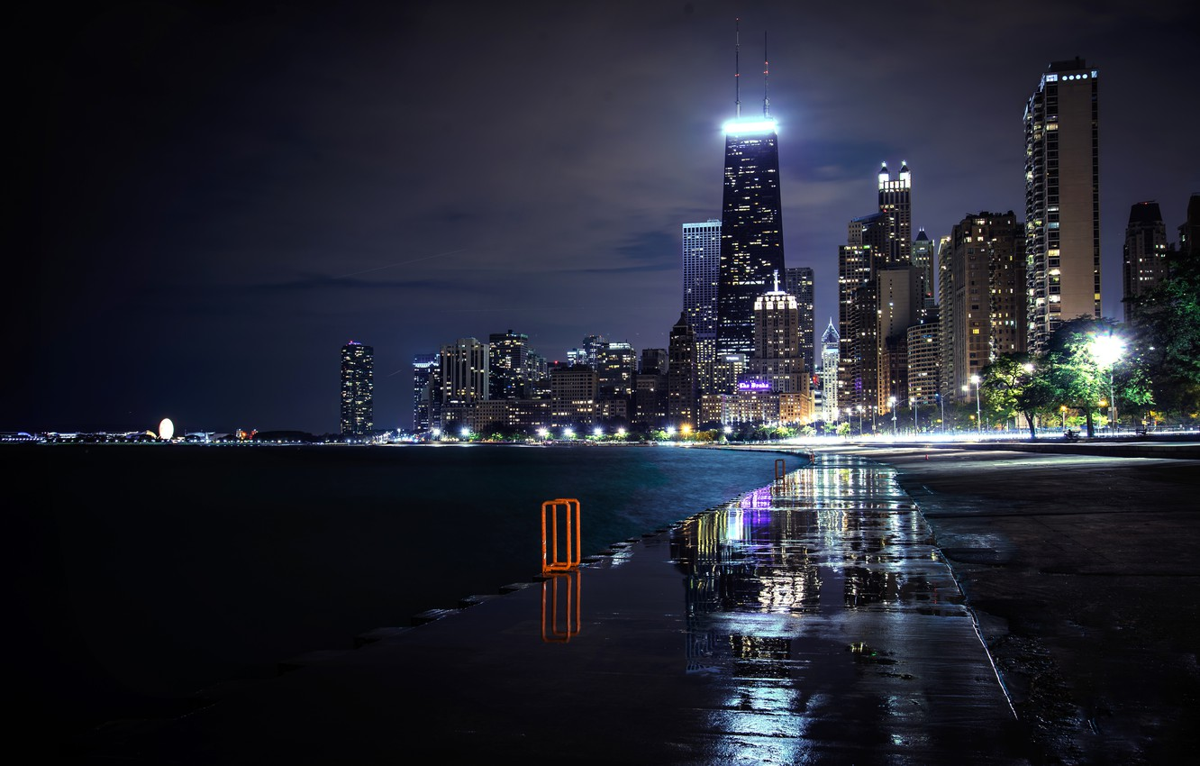 Photo wallpaper road, night, the city, lights, river, building, home, skyscrapers, Chicago, puddles, USA, USA, Il, Chicago, …