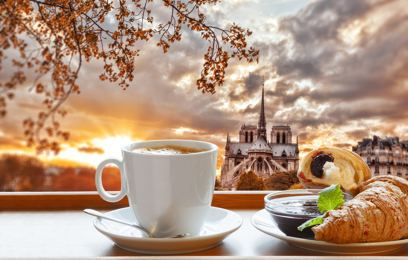 Photo wallpaper Paris, coffee, Breakfast, Paris, cathedral, France, Our Lady, cup, jam, coffee, growing, breakfast, croissant, Notre …