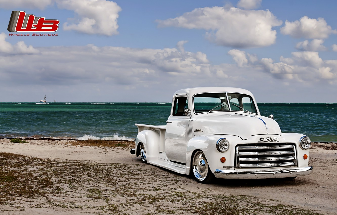 Photo wallpaper white, beach, the sky, clouds, retro, shore, tuning, pickup, tuning, the front, GMC, C152, Lowrider, …