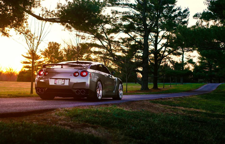 Photo wallpaper Nissan, GT-R, Grass, Sun, Back, R35, Summer, Road, Rear