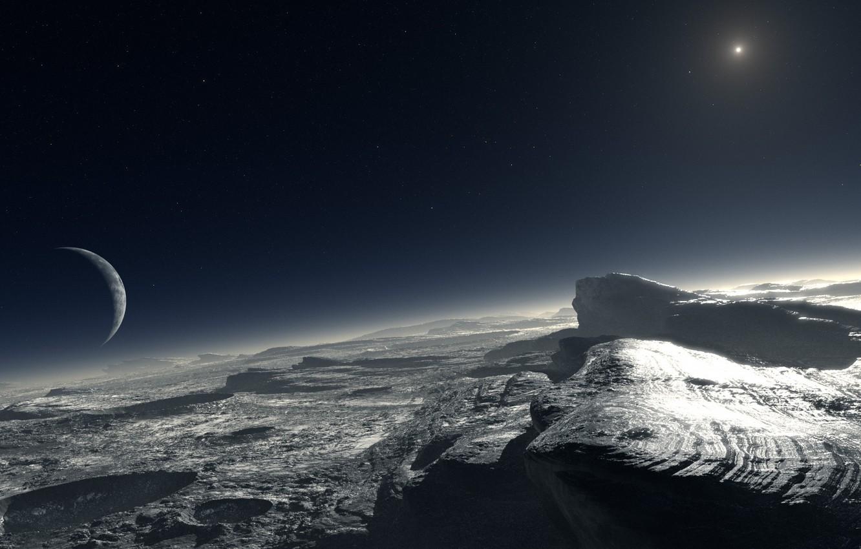Photo wallpaper star, planet, satellite, crater