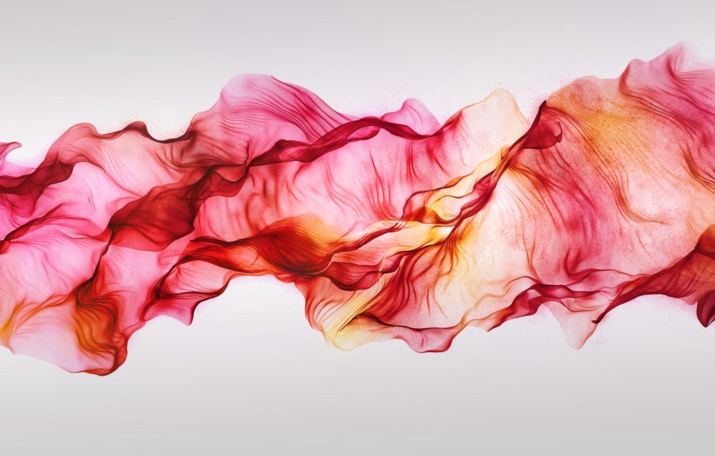 Photo wallpaper red, silk, folds, flying