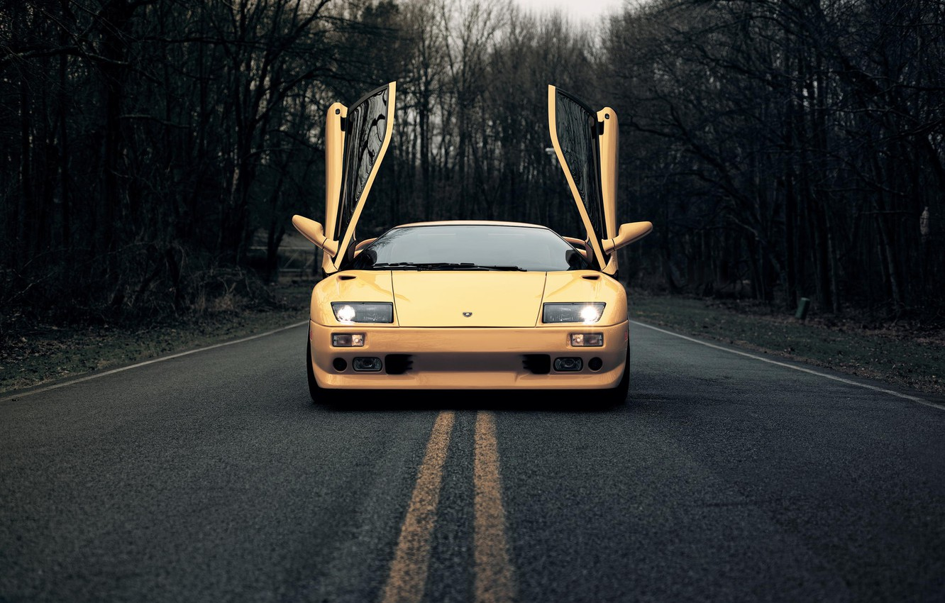 Photo wallpaper road, Lamborghini, door, Diablo, Lamborghini, Diablo, 1999