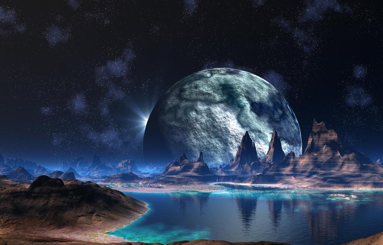 Photo wallpaper water, stars, mountains, fiction, planet, river, alien world