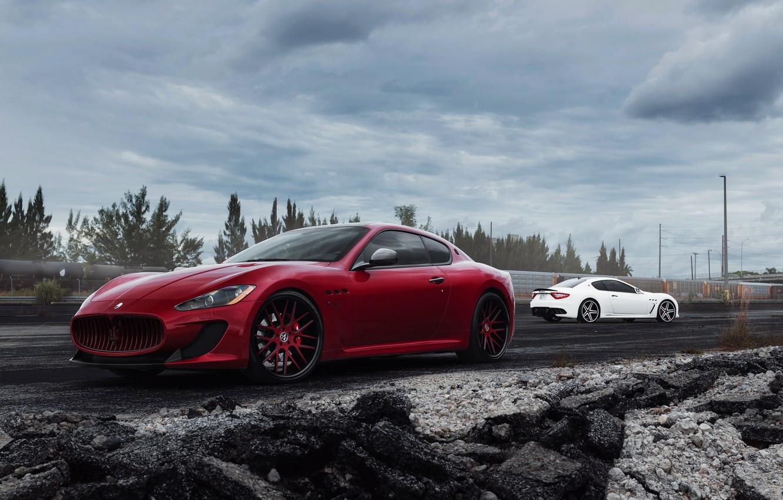 Photo wallpaper Maserati, red, white, GranTurismo, Maserati, front, rear, Gran Turismo