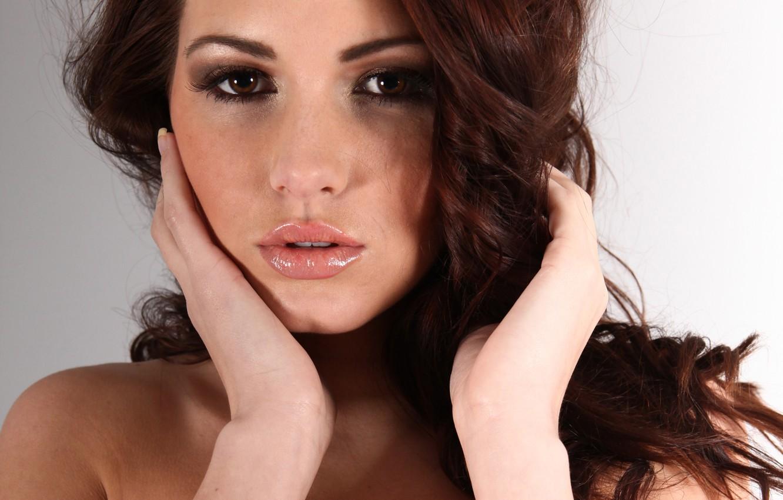 Photo wallpaper eyes, look, girl, model, hair, hands, brown hair, Sabine Emelyanov, Sabine Jemeljanova