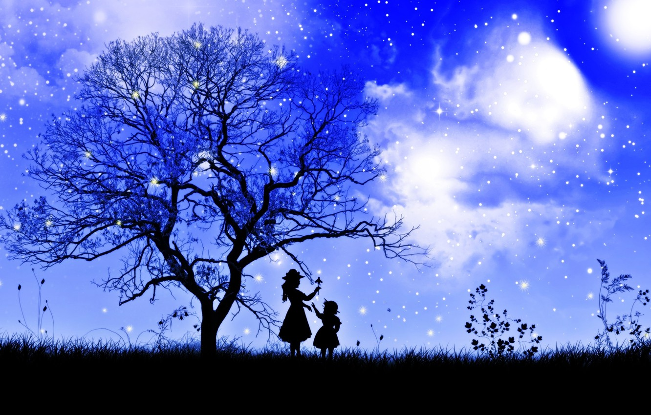 Photo wallpaper the sky, grass, girl, stars, clouds, night, branches, tree, child