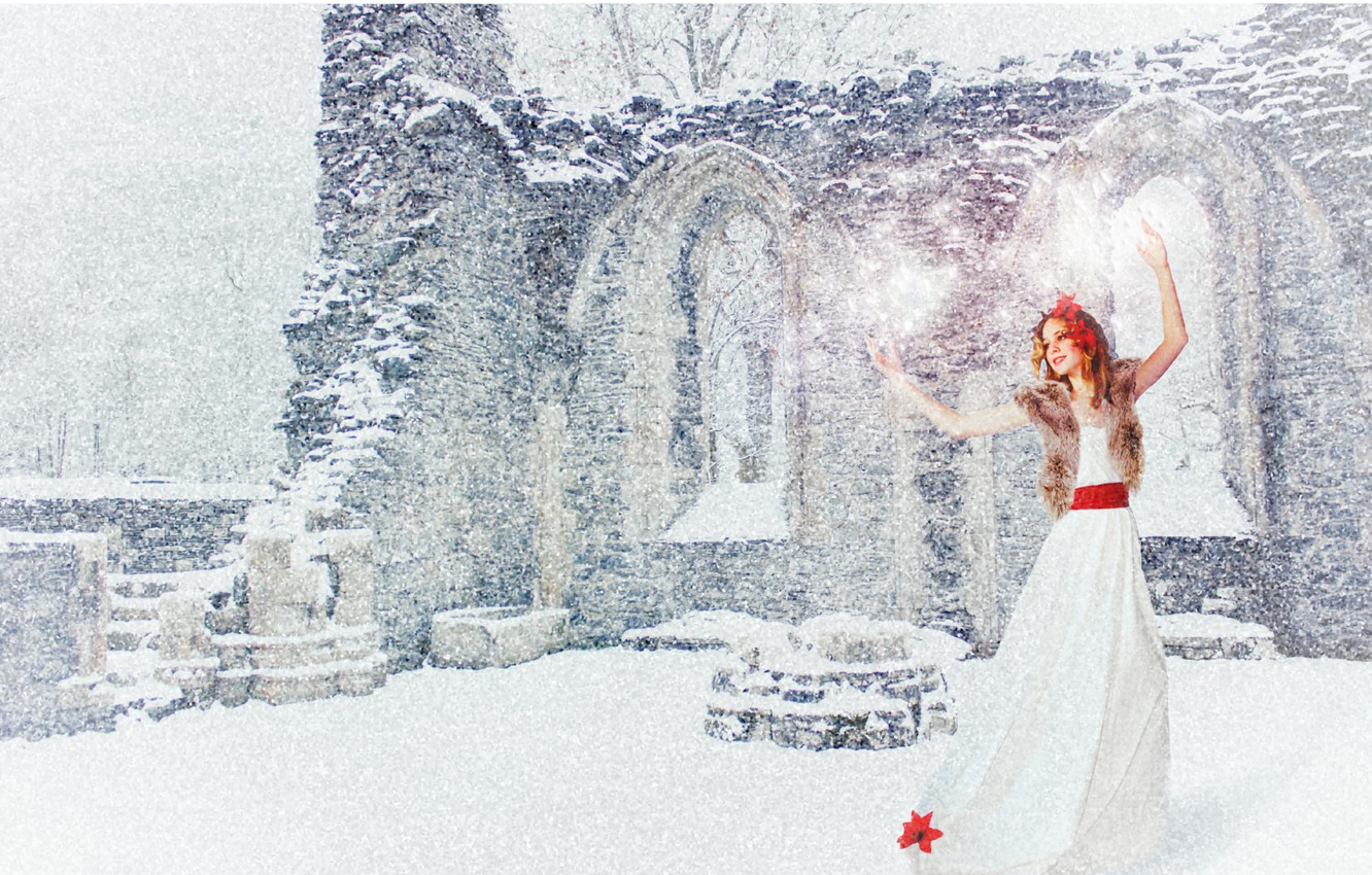 Photo wallpaper winter, white, girl, snow, joy, red, mood, holiday, new year, dance, dress